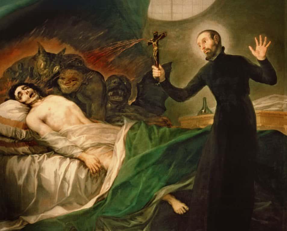 Imagen de un sacerdote antiguo realizando un exorcismo