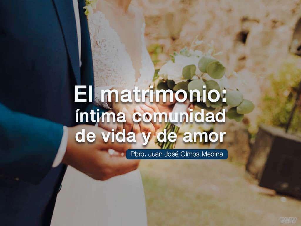 portada del articulo llamado el matrimonio comunidad de amor